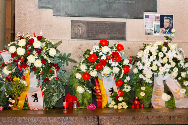 Wreaths at Rathaus Schöneberg on the 50th anniversary of the assassination of JFK